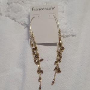 Francesca's purple and gold chandelier earrings